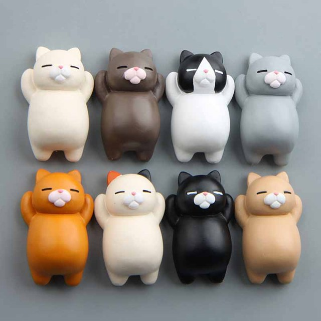 1PC Refrigerator Fat Cat Funny Cartoon Animals Cat Fridge Magnetic Sticker Refrigerator Holder Gift Home Decor Cute Magnets 1
