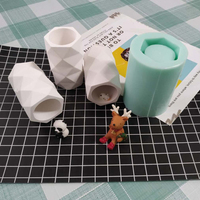 Geometric Mini Pot Concrete Silicone Mold Pen Container Candle Holder Plaster Gypsum Mould Cement Clay Crafts Molds