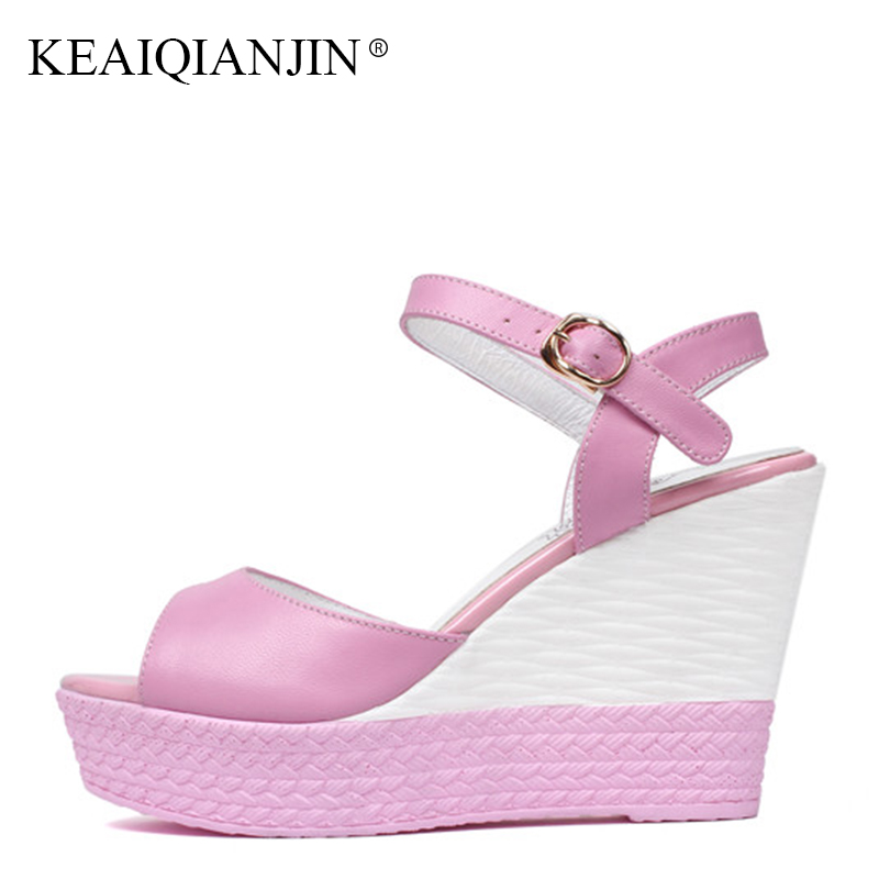 KEAIQIANJIN Woman Open Toe High Heels Sandal Fashion Genuine Leather Wedges Shoes Summer Plus Size 33 40 Pink Platform Sandals timetang summer women shoes woman fashion genuine leather open toe sandals ladies casual platform wedges plus size sandals c213