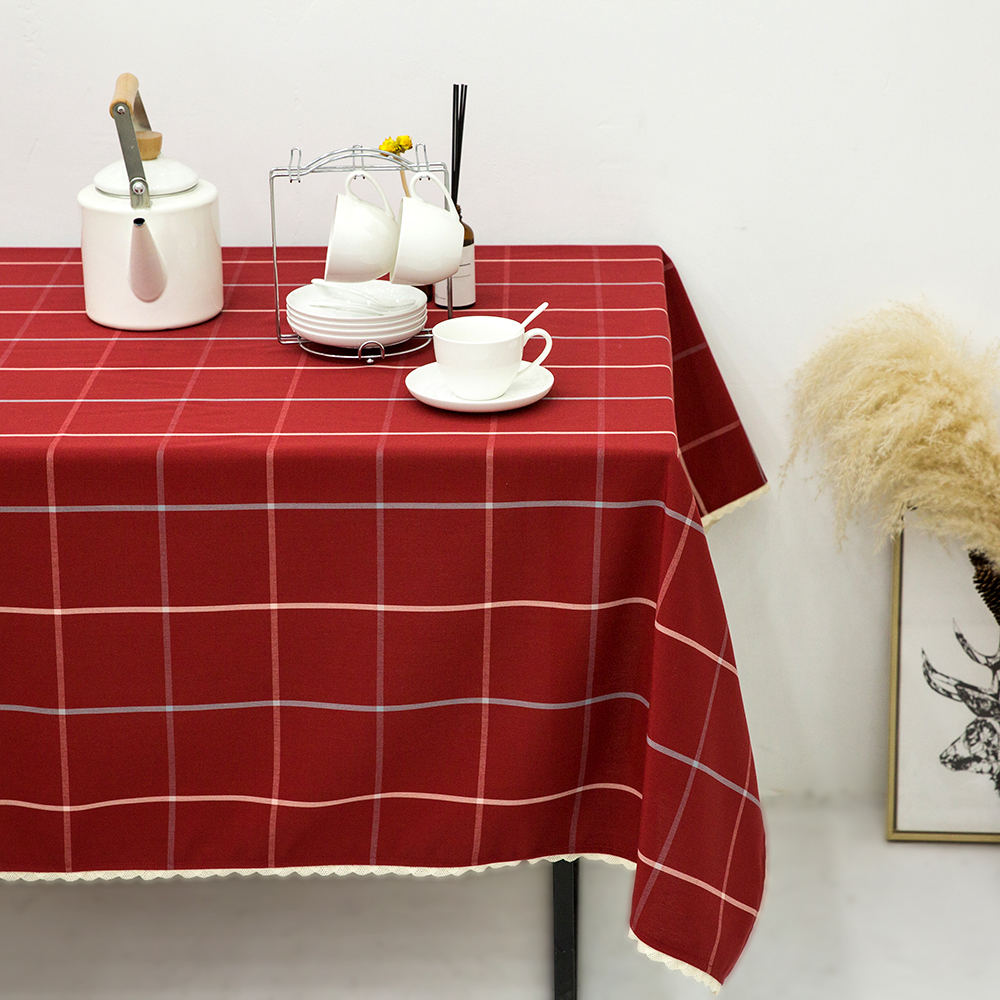 Great Red Plaid Printed Tablecloth With Lace Edge Table Cloth Water Repellent Oil  Resistant Mildew Resistant Dustproof