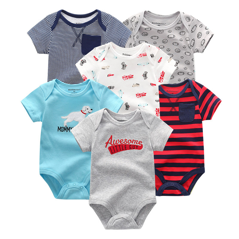 Image 2 - 6 PCS/lot Baby rompers 100% Cotton Infant Body Short Sleeve Clothing baby Jumpsuit Cartoon ropa bebe Baby Boy Girl clothesRompers   -