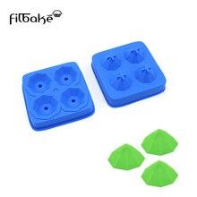 FILBAKE Silicone 4 Holes Ice Cube Tray Mold Shape Rectangular Fondant Chocolate Mould Cake Decoration Tools Baking