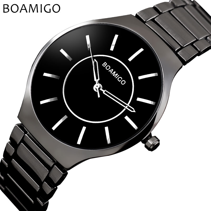 men quartz watches steel business watches BOAMIGO fashion casual dress black bracelet gift clock wristwatches Relogio Masculino men quartz watches steel business watches BOAMIGO fashion casual dress black bracelet gift clock wristwatches Relogio Masculino