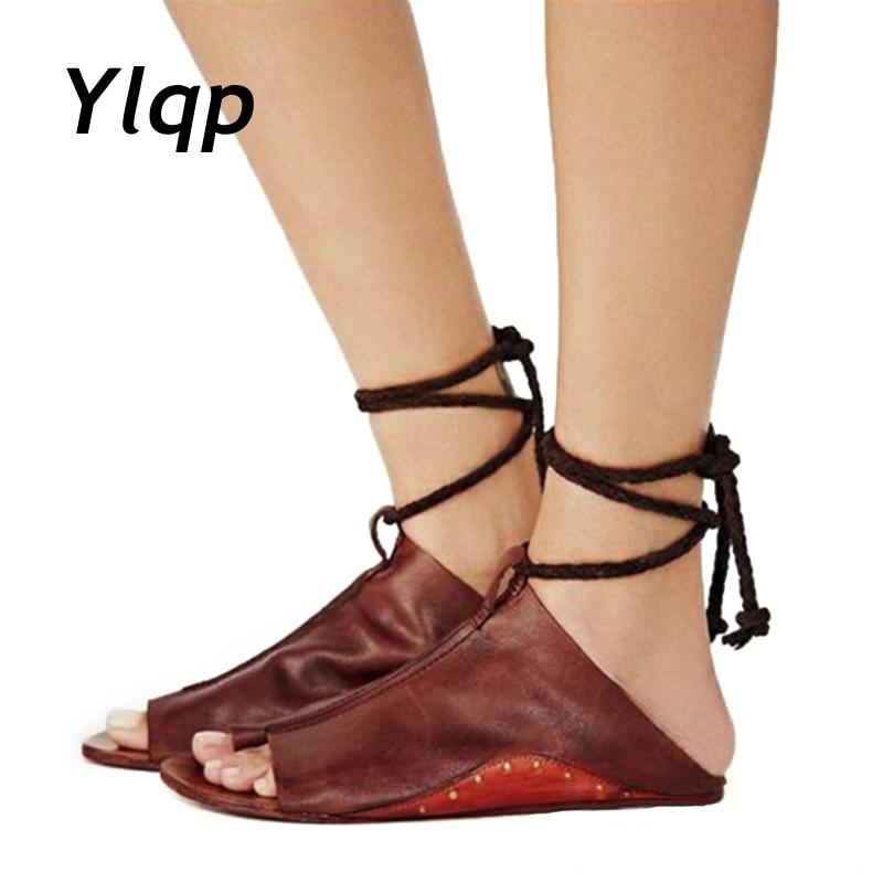 купить 2018 New Women Flat Sandals Lace Up Shoes Slippers Woman Flip Flop Beach Sandals Casual Shoes Size 35-43 Sandalia Feminina по цене 877.17 рублей