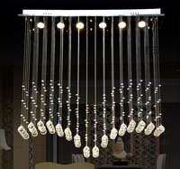 Modern Fashion Luxurious L 50 60 80 100 120cm K9 Crystal Led GU10 6 Pendant Lamp