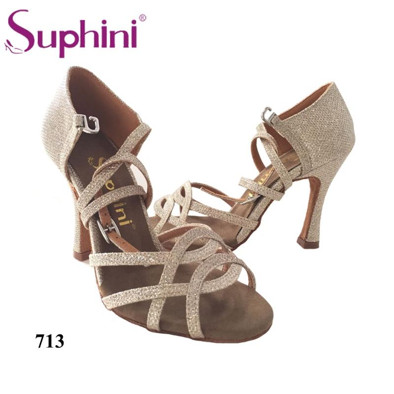 Free Shipping Ladies Latin Dancing Shoes Suphini Latin Shoes Glitter Gold Latin Dance Shoes
