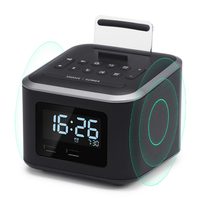 Alarm Clock Radio,Wireless Bluetooth Speaker,Digital Alarm Bedroom Clock  With Cell Phone Stand
