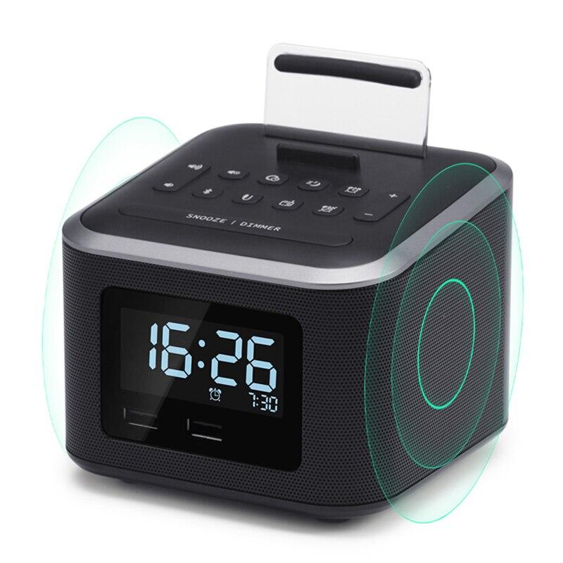 Radio réveil, haut-parleur Bluetooth sans fil, réveil numérique avec support de téléphone portable/variateur/fonction de sauvegarde de la batterie