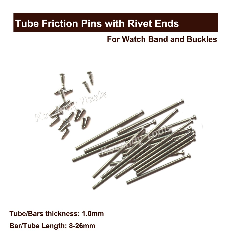 Tube Friction Pin Pressure Bars Pins & Rivet Ends For Watch Band Clasp Straps Buckles Bracelets Thickness 1.0mm 100 Pcs 8 - 26mm