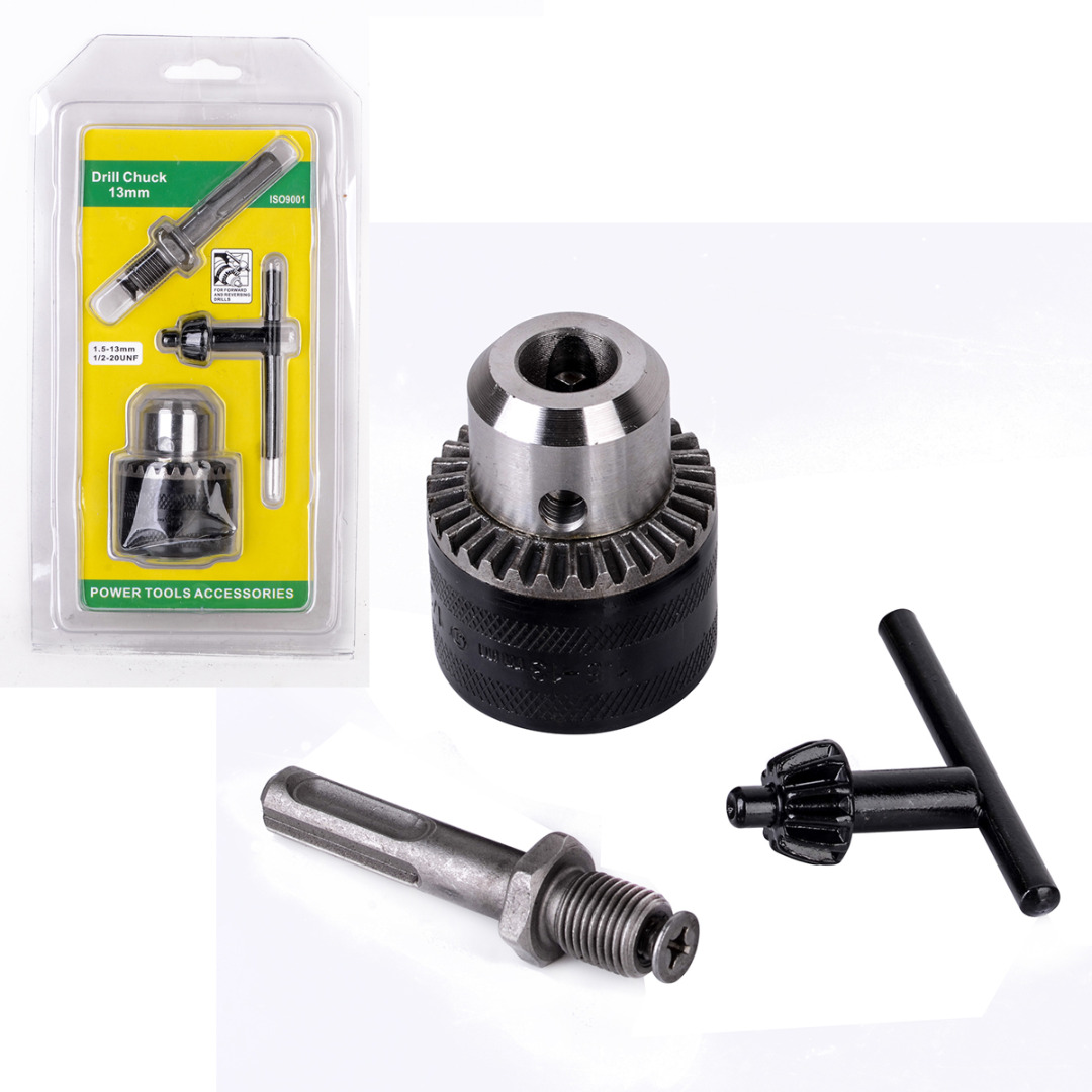 1Set Electric Hammer Drill Chuck Adapter 1.5-13mm 1/2 - 20UNF Thread With SDS Plus And Key For Rotary Tools цена