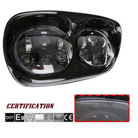 Dual Black /Chrome 6000K LED Daymaker Projector Headlight Bulb Assembly : Harley Road Glide Led Headlight