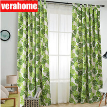 Green leaf print curtains for living room nordic cotton linen curtain drapes for  bedroom kitchen windows treatment