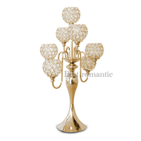 7 arm Crystal Metal Gold Centerpiece 37'' tall Candelabra Silver Plated Candle Holder Christmas Candles For Home Wedding Decor
