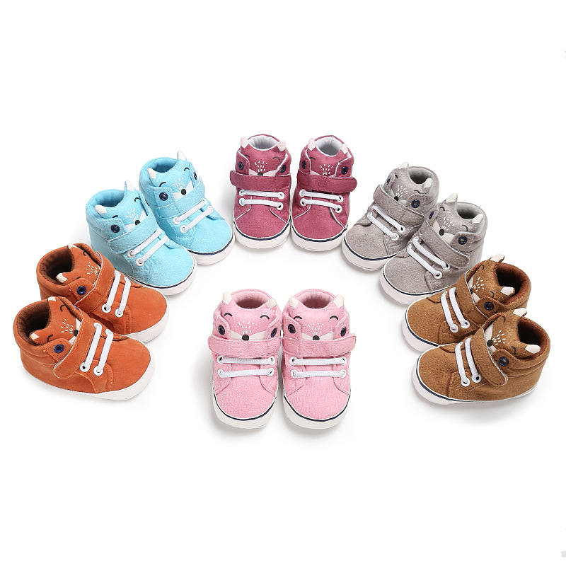 NEW Autumn Baby Shoes Kid Boy Girl Fox Head Lace Cotton Cloth First Walker Anti-slip Soft Sole Toddler Sneaker