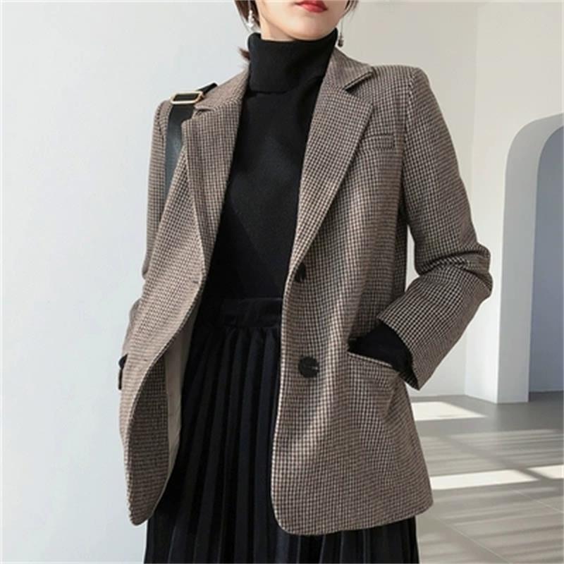 Plaid Blazers chaqueta femenina Ilana pequeño traje chaqueta mujer Retro suelto Delgado lana pequeño traje chaqueta mujer Blazers nuevo