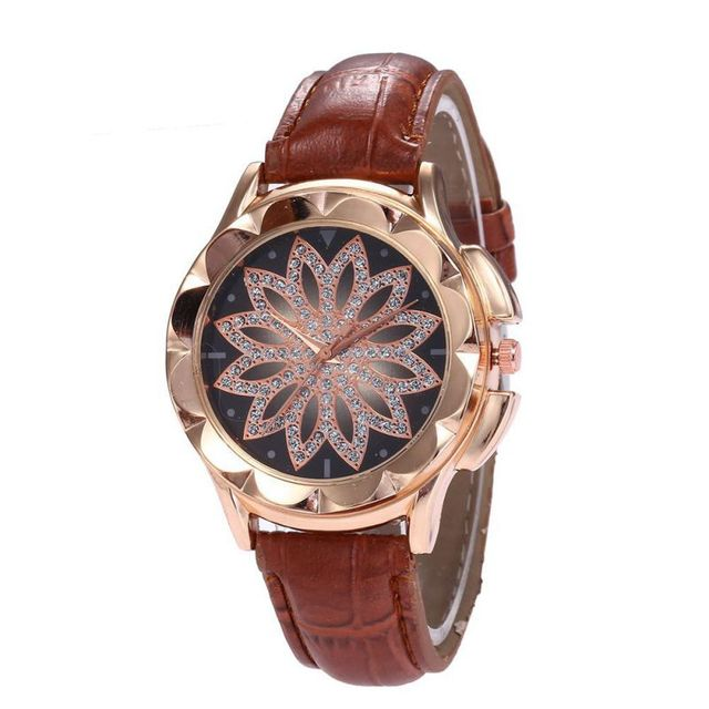 Ladies Fashion Women Rose Gold Flower Rhinestone Wrist Watches Luxury Casual Fem