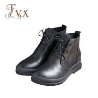 Tayunxing Handmade Genuine Leather Lace Up Platform Med Heel Comfort Ankle Women Boot 3209 2