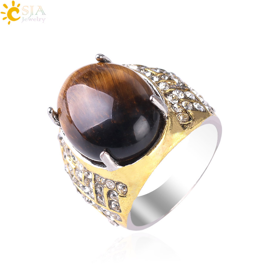 CSJA Vintage Charm Rings for Men Women Natural Stone Tiger Eye Brown Bead Waterdrop Shape Gold Color Cocktail Ring Hot Sale S113