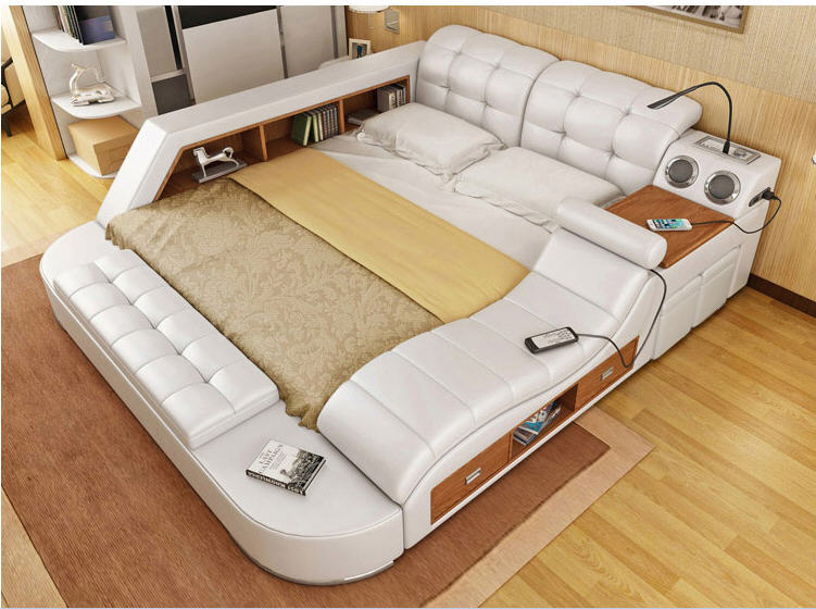 Real Genuine Leather Bed Frame Modern Soft Beds Home Bedroom Furniture Camas Lit Muebles De Dormitorio Yatak Mobilya Quarto Bett In From On