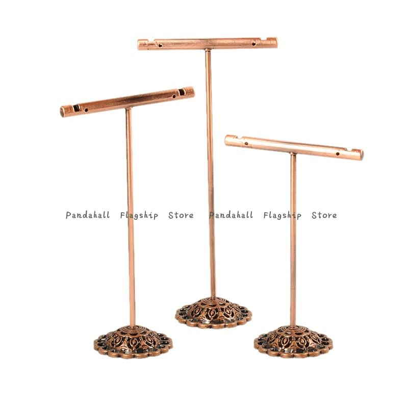 Metal Earring Display Stands Necklace Stand Holder Copper Pipe Jewelry Holder Diy With 13