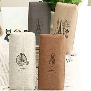 Hot Sale Fashion Retro Canvas Pencil Pen Case Cosmetic Makeup Coin Pouch Zipper Bag Purse 8CK9 Office & School Supplies