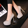 Sexy Bling Women Shoes Silver Pumps 12CM High Heels Fashion Platform Bride Shoe Thin Heel Wedding Party