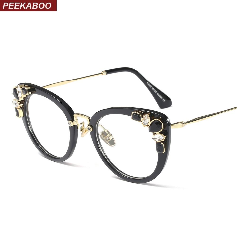 5209d8b45c6 Peekaboo transparent crystal cat eye glasses frames for women designer  brand 2019 women s luxury eyeglasses rhinestones