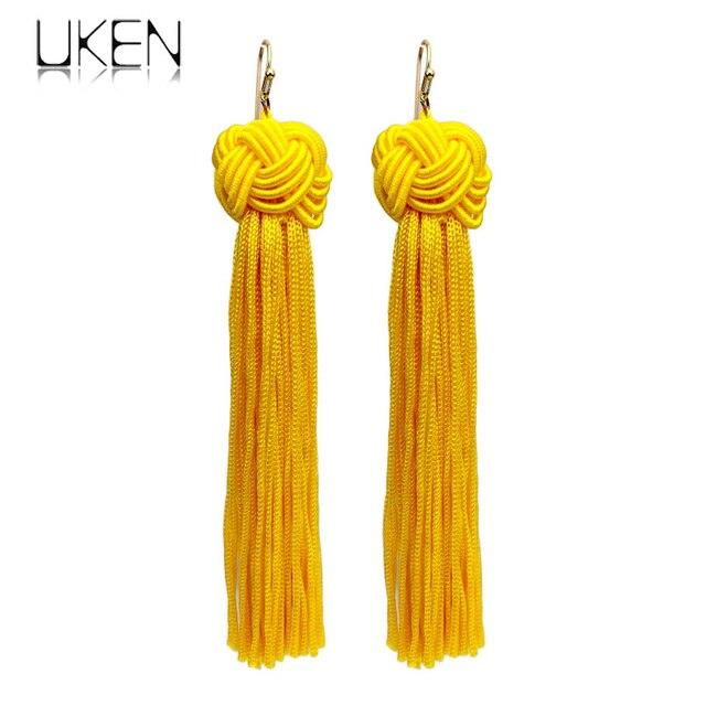 UKEN Fashion Knot Long Tassel Earrings For Women Bohemian Statement Dangle Drop Earring Fringed Pendientes 2017 Boho Jewelry