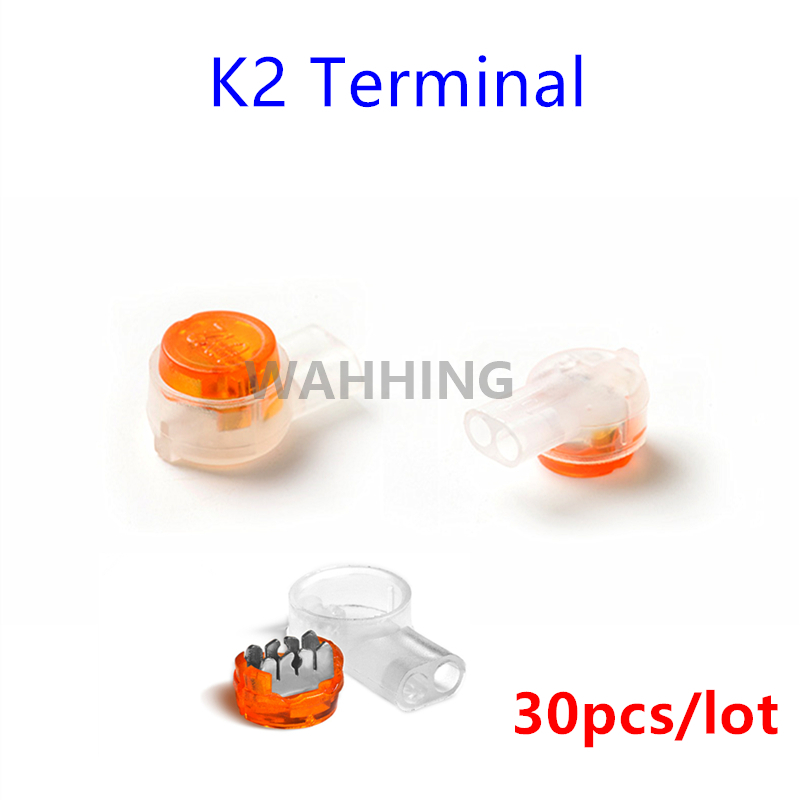 30pcs K2 Cable Terminal Connection Mini Wire Quick Fit Splicing K2 ...