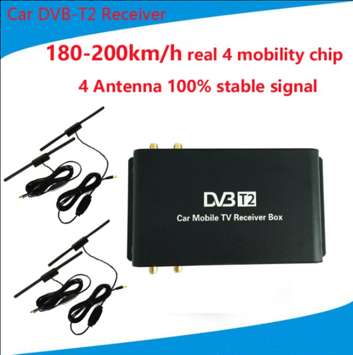 DVB-T2 Car 180-200km/h Digital Car TV Tuner 4 Antenna 4 Mobility Chip DVB T2 Car TV Receiver BOX DVBT2 dvb t tv adapter cable mcx female jack to dvb t tuner antenna extension rg316