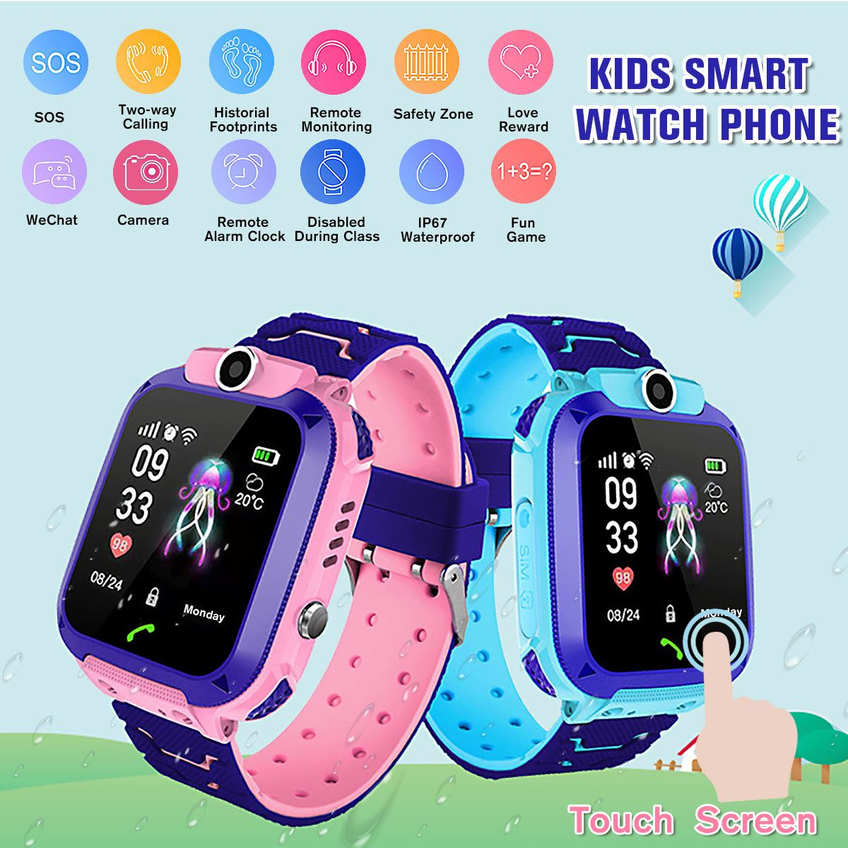 Children Watch Gps-Phone Fashion New for Android IOS Touch-Screen Positioning WIFI SOS