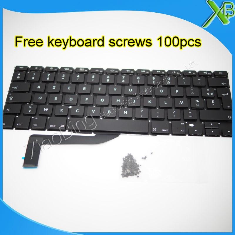 "Brand New For MacBook Pro Retina 15.4 inch"" A1398 AZERTY FR French keyboard+10keyboard screws 2013-2015 Years"""