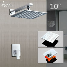 hm Brass Shower Kit Concealed Wall Mounted box 10Air Booster Head Luxury Square Rainfall Saving Water Chrome