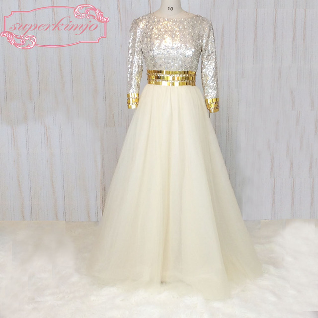 SuperKimJo Long Sleeve Champagne Prom Dresses with Rhinestones A Line  Elegant Sequins Sparkly Evening Gown Casamento d943599ee21e