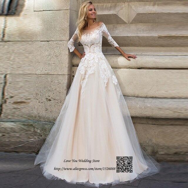 Gelinlik Vintage Einfache Hochzeitskleid 2017 Champagner Braut ...