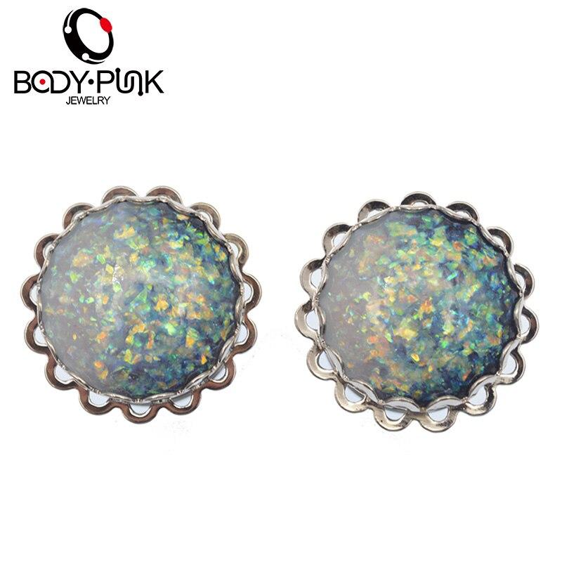 CORPS PUNK Vente Chaude Bouchons D'oreille Acier Inoxydable Blanc Bleu Mix Opale Double Flare EarGauge Tunnel Piercing Bijoux De Mode