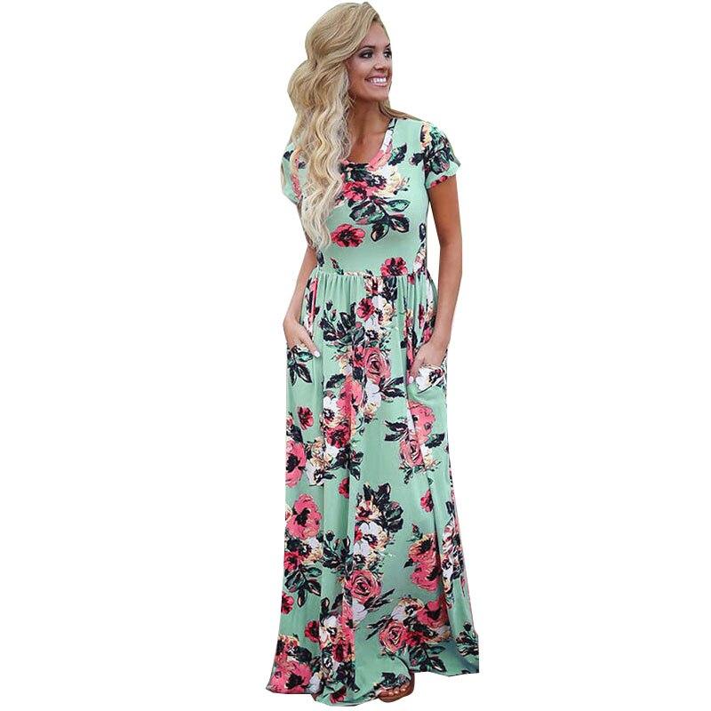 2b1ec76ef ELSVIOS verano Floral impreso Boho vestido largo 2017 mujeres manga corta  cuello en O Maxi vestidos Casual Plus tamaño vestido de vestidos en Vestidos  de La ...