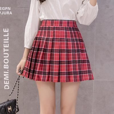 Daeyard Plaid Pleated Skirt Colorblock High Waist Mini Skirts Women 2019 New Spring Sexy A-Line Skirts Elegant Workwear Bottoms