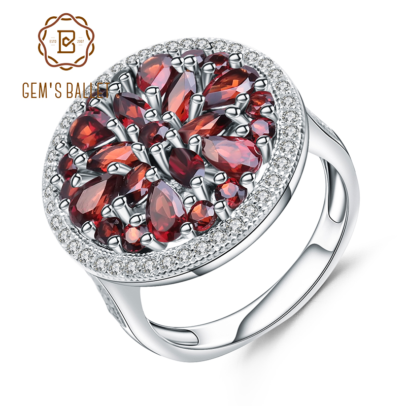 GEM'S BALLET 3.88Ct Round Natural Red Garnet Gemstone Ring 925 Sterling Silver Vintage Cocktail Rings For Women Fine Jewelry