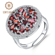Gems BALLET 3.88Ct 라운드 천연 붉은 가닛 보석 반지 여성을위한 925 스털링 실버 빈티지 칵테일 반지 파인 쥬얼리