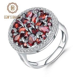 Image 1 - Gems Ballet 3.88Ct Ronde Natuurlijke Rode Granaat Edelsteen Ring 925 Sterling Zilveren Vintage Cocktail Ringen Voor Vrouwen Fijne Sieraden