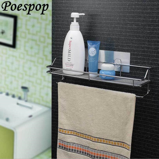 Posepop Bathroom Storage Shelves Stainless Steel Suction Kitchen Corner Rack Organizer Shower Shelf With Towel