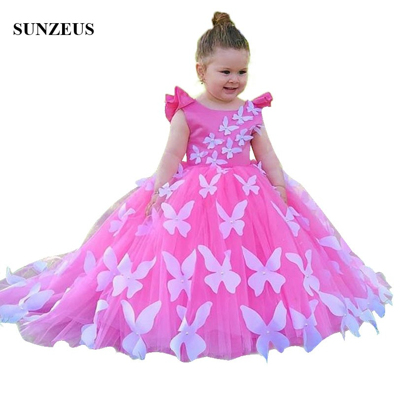 Beautiful Butterfly   Flower     Girl     Dresses   2018 New Arrival Ball Gown Pink Children Party   Dress   Tulle Prom Gowns FLG115