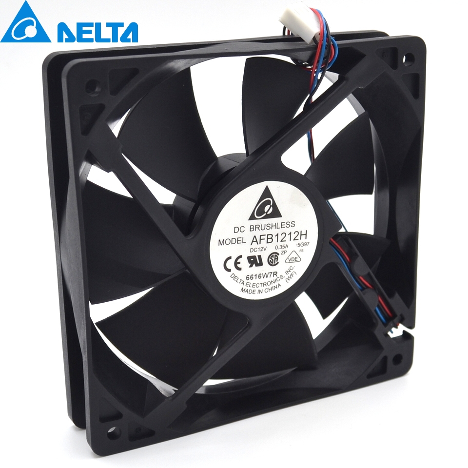 Delta New AFB1212H 12025 12cm 12V 0.35A three line winds chassis cooling fan for  120*120*25mm delta afb1212hhe 12038 12cm 120 120 38mm 4 line pwm intelligent temperature control 12v 0 7a