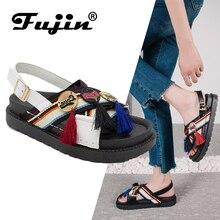 Fujin Brand  2019 New Summer Retro Sandals Women Flat Slip-on Flip Flops Beach Shoes Female Slides Rome