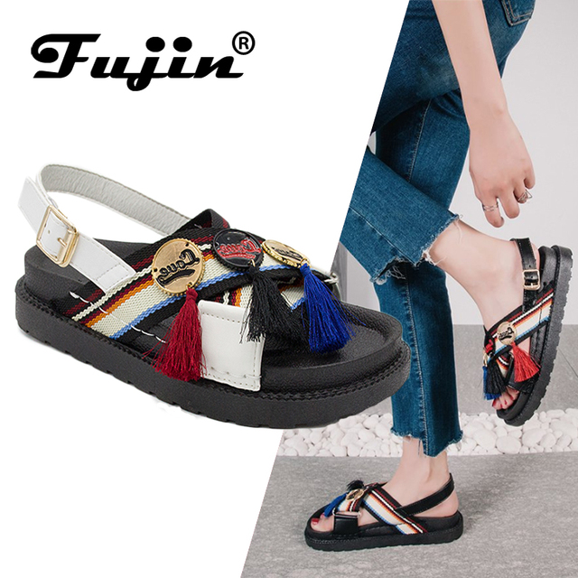 2f6133a86ea71 US $13.0 50% OFF|Fujin Brand 2019 New Summer Retro Sandals Women Flat  Sandals Slip on Flip Flops Beach Shoes Female Slides Rome Shoes-in Women's  ...