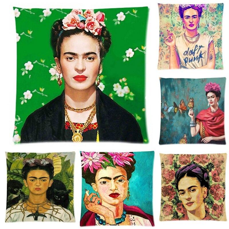 Molto Cuscino Frida Kahlo Federa Ferma Fiore self portrait Divano  GM56