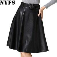 2016 Europe Fashion PU Leather Skirt Women Vintage High Waist Office Skirt Faldas Female Long Skirts