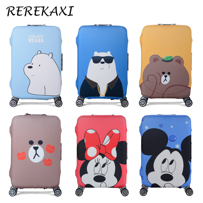 Cute Animal Cartoon Suitcase Luggage Cover, 19-32 Inch Trolley Baggage Elastic Dust Protective Case Cover Travel Accessories