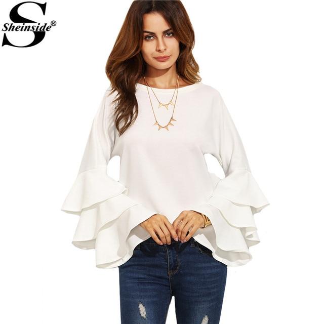 Sheinside Biały Okrągły Dekolt Wzburzyć Z Długim Rękawem Koszulka Damska Odzież Robocza Moda Topy Kobiety Vogue Bluzka